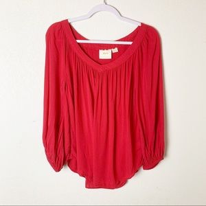 Anthro Maeve Red Boswell Balloon Sleeve Top 10